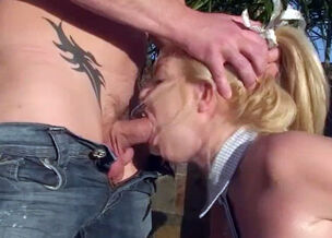 Teen blowjob outdoors
